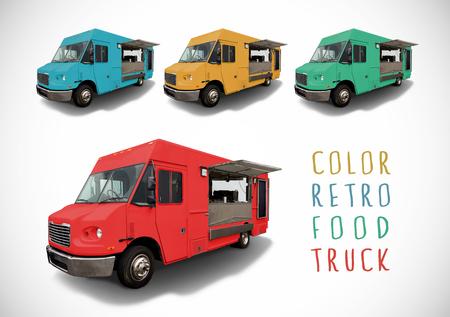 comedor escolar: Conjunto de color de los camiones de alimentos retro con trazado de corte Foto de archivo
