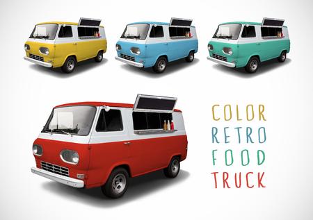 comedor escolar: Conjunto de camiones de comida de color retro Foto de archivo
