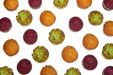 Collorfull muffins pattern on white background Stock Photo