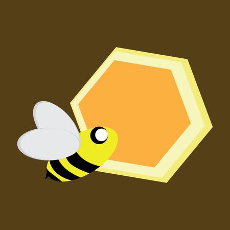 honey comb: Bee and honey comb Illustration