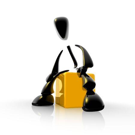 black 3d man sitting on a yellow box