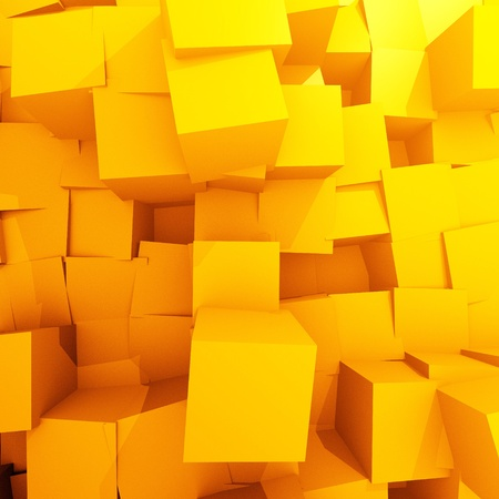 different  yellow chaos cubes Stock Photo