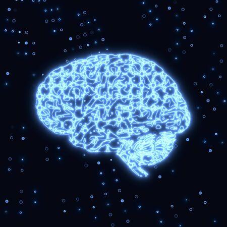 Blue  electronic glowing thinking symbol Stock Photo - 17407754