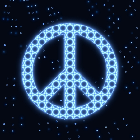 Blue electronic glowing peace symbol