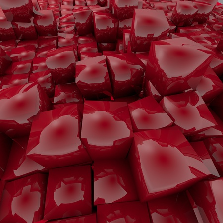 candy apple: Dark candy apple red  cubes