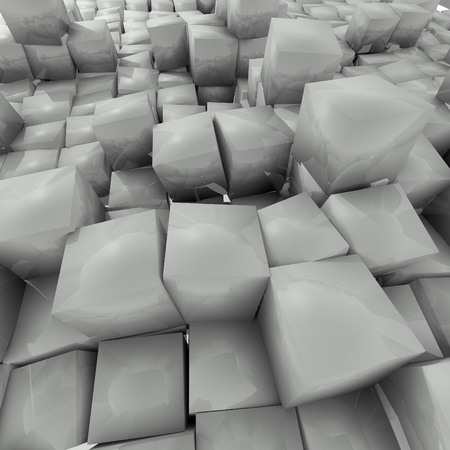 mirrowing grey cubes background Stock Photo - 17407880