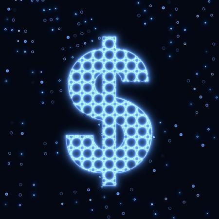 finacial: Blue  electronic Dollar money symbol