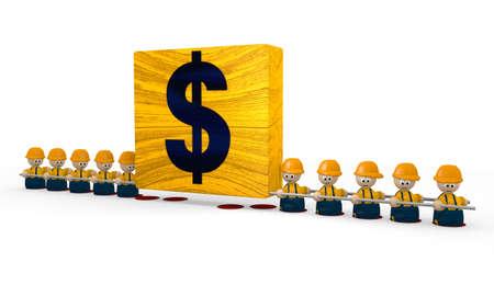 finacial: builder Dollar tiny man Stock Photo