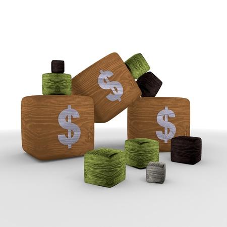 finacial: Dollar symbol cubes Stock Photo