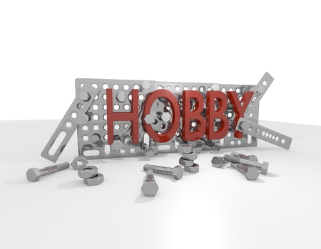 zinnwaldite brown: mechanical hoobies 3d illustration Stock Photo