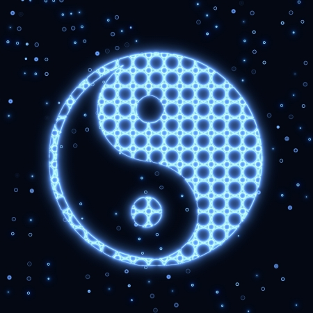 Blue electronic ying yang glowing symbol Stock Photo