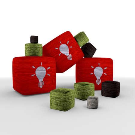 apple red  wood idea wooden symbol cubes photo