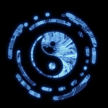 electric ying yang computer symbol