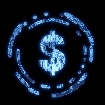 Steel blue  electric money electronic symbol