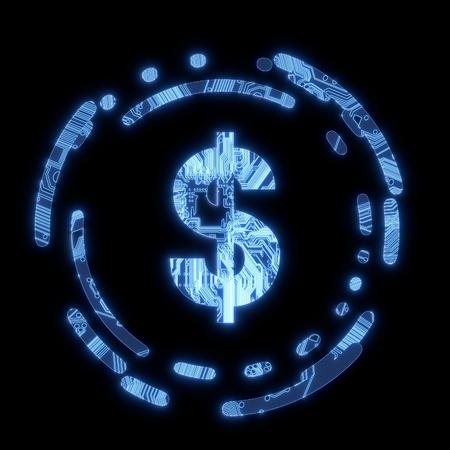 finacial: Steel blue  electric money electronic symbol