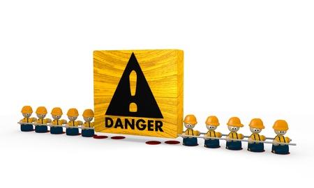 develope:  construction site Danger builder tiny man