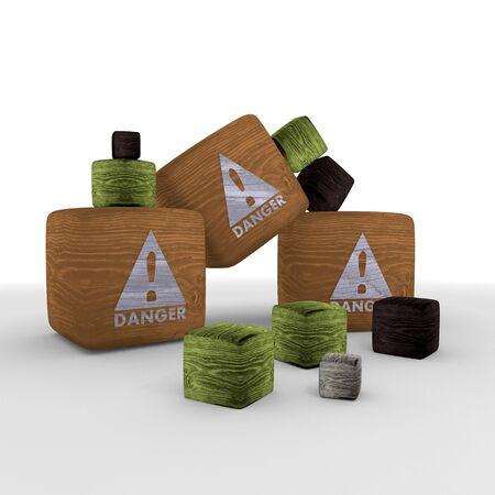 tiny: Sepia tiny Danger symbol cubes Stock Photo