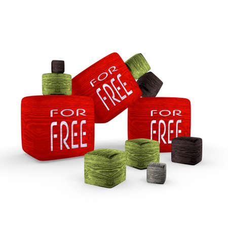 red for free wooden symbol cubes photo