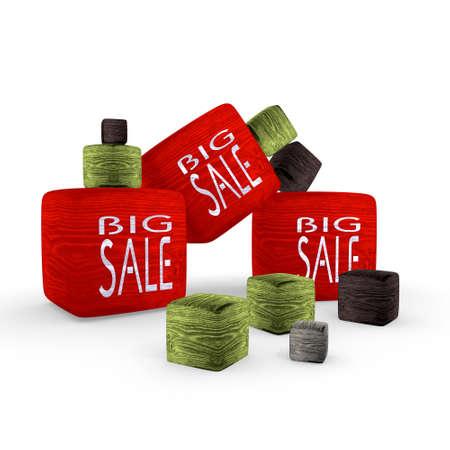 red big sale wooden symbol cubes photo