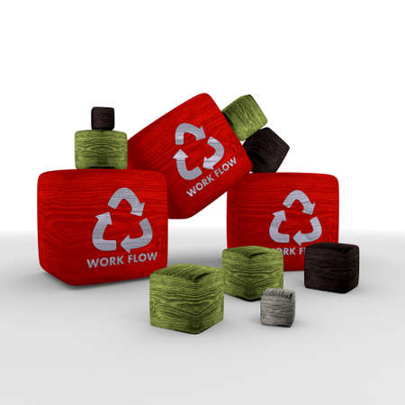 red wood tiny work flow symbol cubes photo