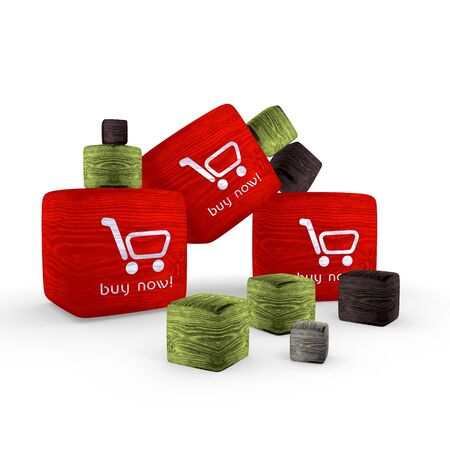 red  wooden buy now symbol cubes photo