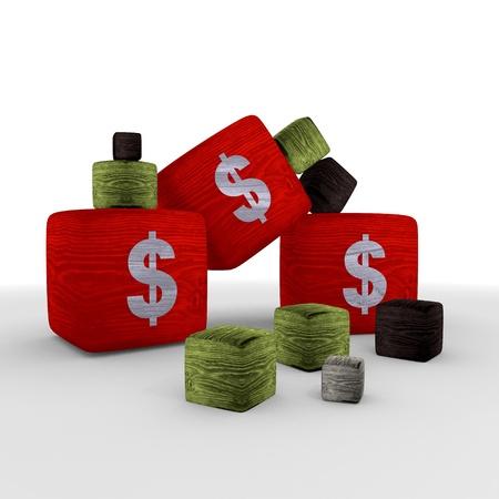 finacial:  red  wood money tiny symbol cubes Stock Photo