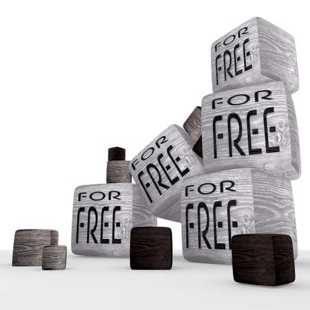 hout klein voor gratis symbool blokjes Stockfoto