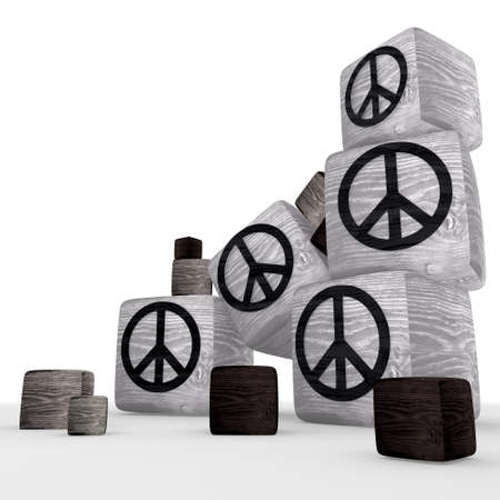 tiny wooden peace symbol cubes