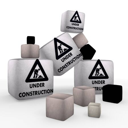 developement: Pastel gray  wool tiny construction site symbolcubes Stock Photo
