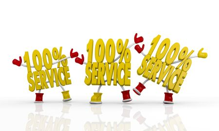tripple: friends 3d characters 100 Service Symbol Stock Photo