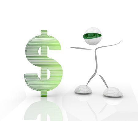 finacial: Pastel gray  modern futuristic Dollar 3d character