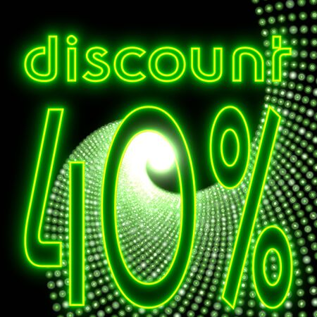 next stage: Neon green  electronic disco -40 symbol Stock Photo