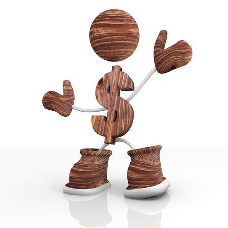 finacial: 3d character wooden Dollar Illustration Stock Photo