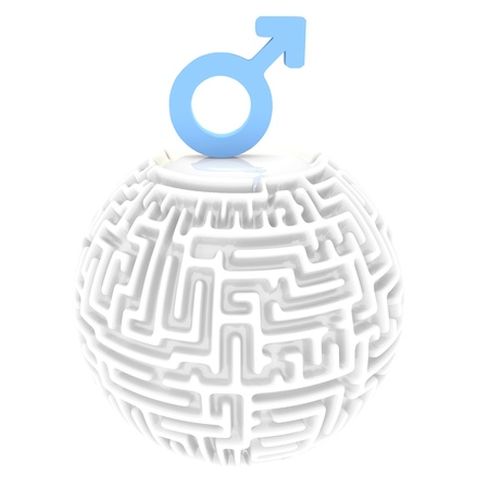 confusing: confusing male labyrinth 3d graphic with confusing man pictogram
