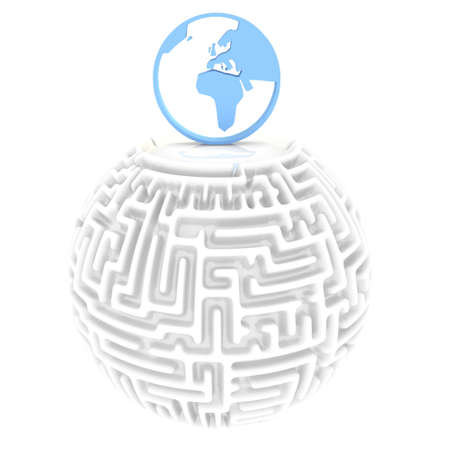 puzzling: blue  labyrinth 3d graphic with complicate world pictogram