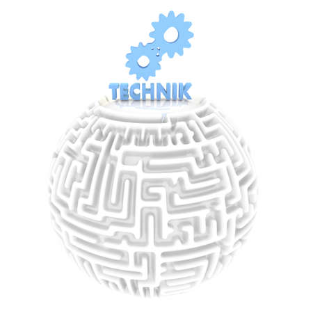 technic: blue  labyrinth 3d graphic with elegant technic pictogram Stock Photo