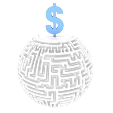 finacial: Light sky blue  meander 3d graphic with complex Dollar labyrinth