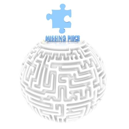 puzzelen: Licht hemelsblauw meander 3d afbeelding met raadselachtige ontbrekende stuk pictogram Stockfoto