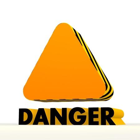 Dark orange  danger 3d graphic with warning triangle icon