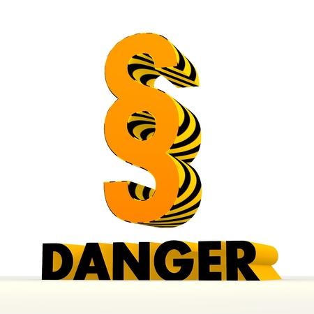perilous: Dark orange  danger 3d graphic with hazardous law symbol