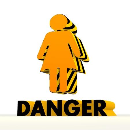 dangerous woman: Dark orange  danger 3d graphic with dangerous woman symbol