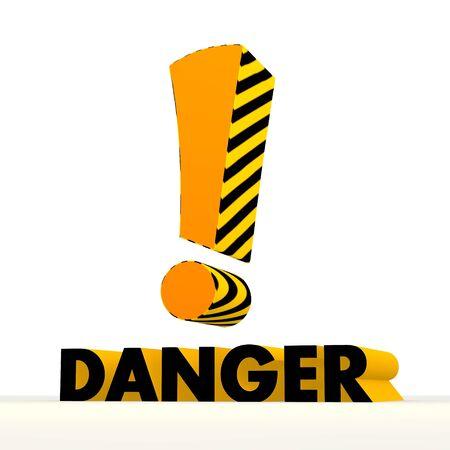 risky: Dark orange  danger 3d graphic with risky attention symbol Stock Photo