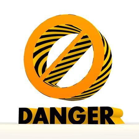 perilous: Dark orange  danger 3d graphic with 3d forbidden icon Stock Photo