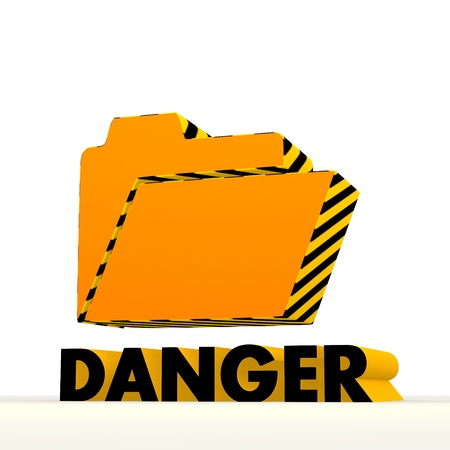 perilous: Dark orange  danger 3d graphic with 3d folder icon Stock Photo