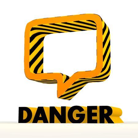 risky: Dark orange  danger 3d graphic with risky speach balloon icon