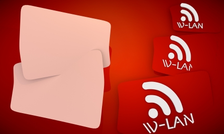 wlan: red symbol classy w-lan background with free space for own content Stock Photo