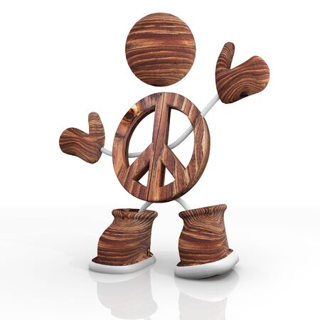 wooden 3d character with peace wooden Illustration Stock Photo