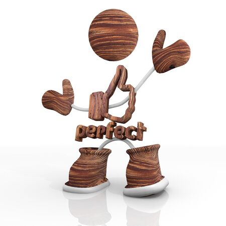 3d character with wooden beautiful perfect Illustration Stock Photo