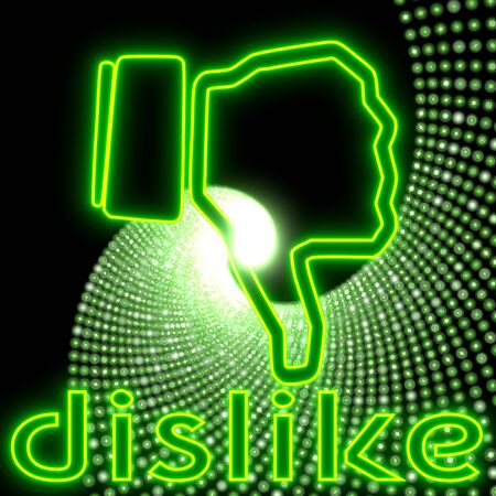 Neon green  electronic disco dislike icon with 3d effect