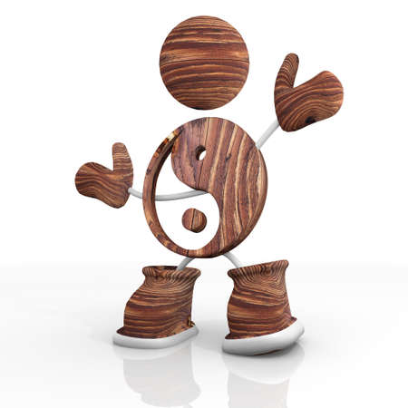 peacefull: 3d character with wooden ying yang Illustration